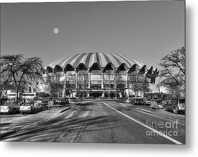 Coliseum Black And White With Moon Metal Print by Dan Friend
