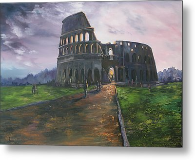Metal Print featuring the painting Coliseum Rome by Jean Walker
