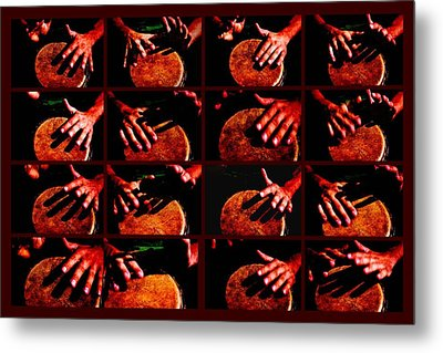 Collage Drum Bang Boom - Red Metal Print