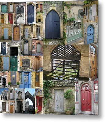 Collage Of Doors Metal Print by Cathy Jacobs