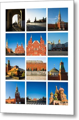 Collage - Red Square In The Morning Metal Print by Alexander Senin