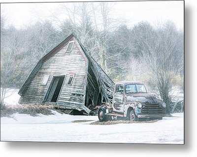 Collapsed Barn And Old Truck - Americana Metal Print by Gary Heller