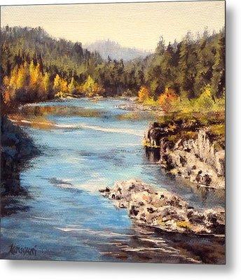 Colliding Rivers Fall Metal Print by Karen Ilari