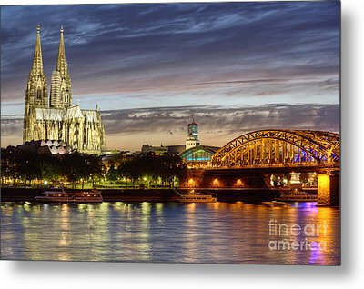 Cologne Cathedral With Rhine Riverside Metal Print by Heiko Koehrer-Wagner