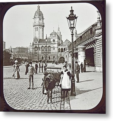 Metal Print featuring the photograph Cologne Germany Street Scene 1903 Vintage Photograph by A Gurmankin