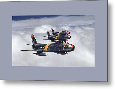 Colonel Ben O Davis Leads Flight F 86 Sabres Over Korea Medium Border Metal Print by L Brown