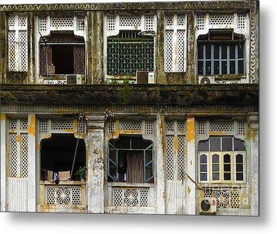 Colonial Facade Bo Soon Pat Street 8th Ward Central Yangon Burma Metal Print by Ralph A  Ledergerber-Photography