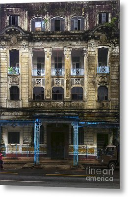 Metal Print featuring the photograph Colonial Facade Merchant Street 8th Ward Central Yangon Burma by Ralph A  Ledergerber-Photography