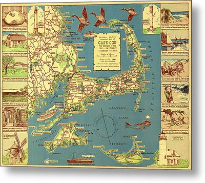 Colonial Map Of Cape Cod Metal Print by Mountain Dreams