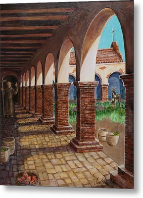 Colonnade And Father And Donkey  Metal Print