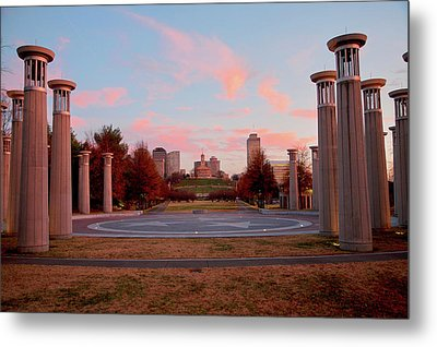 Colonnade In A Park, 95 Bell Carillons Metal Print