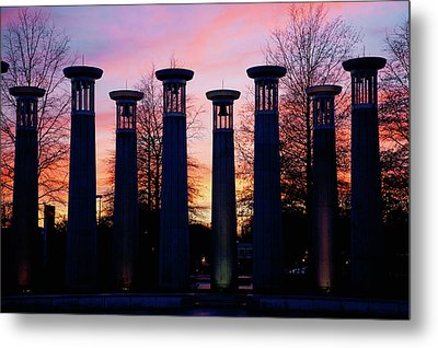 Colonnade In A Park At Sunset, 95 Bell Metal Print