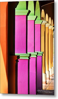 Metal Print featuring the photograph Colorful Colonnade - Lake Chapala - Mexico - Travel Photography By David Perry Lawrence by David Perry Lawrence