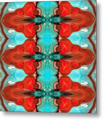 Color Chant - Red And Aqua Pattern Art By Sharon Cummings Metal Print by Sharon Cummings