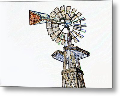 Color Drawing Of Old Windmill 3009.04 Metal Print by M K  Miller