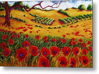 Color In The Vineyards Metal Print by Lisa V Maus
