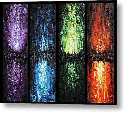 Metal Print featuring the painting Color Panels 1 by Patricia Lintner