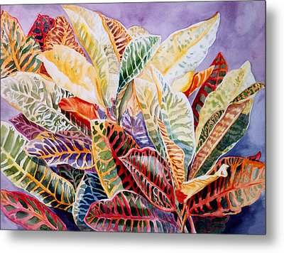 Metal Print featuring the painting Color Patterns - Crotons by Roxanne Tobaison