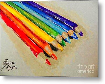 Color Pencils Metal Print by Marisela Mungia