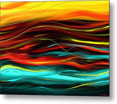 Metal Print featuring the painting Color Waves by Shawna Rowe
