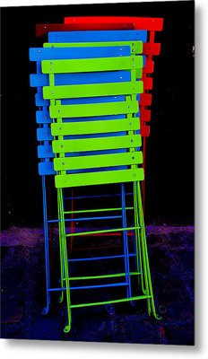Colorful Cafe Chairs Metal Print by Dany Lison
