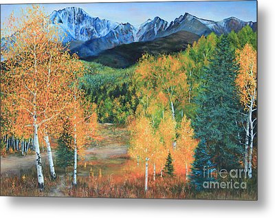 Metal Print featuring the painting Colorado Aspens by Jeanette French