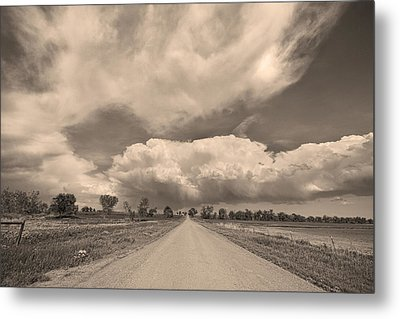 Colorado Country Road Sepia Stormin Skies Metal Print by James BO  Insogna
