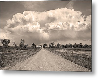 Colorado Country Road Stormin Sepia  Skies Metal Print by James BO  Insogna