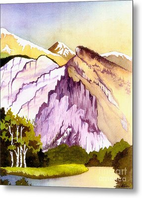 Metal Print featuring the painting Colorado Mountains In Their Purple Majesty by Nan Wright