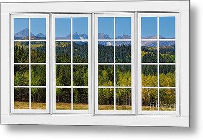 Colorado Rocky Mountains White Window Frame View Metal Print