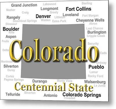 Colorado State Pride Map Silhouette  Metal Print by Keith Webber Jr