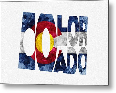 Colorado Typographic Map Flag Metal Print by Ayse Deniz