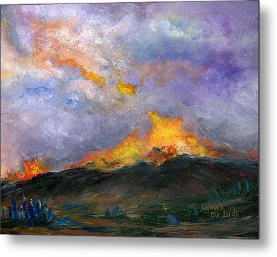 Metal Print featuring the painting Colorado Wild Fire by Lenora  De Lude