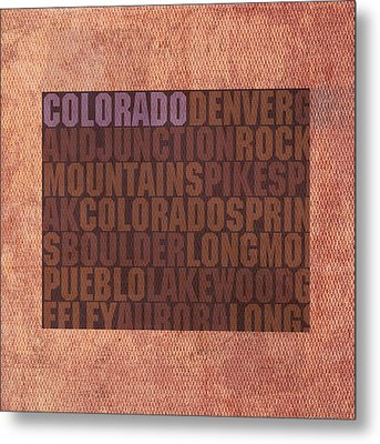 Colorado Word Art State Map On Canvas Metal Print by Design Turnpike