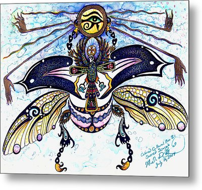Colored Cultural Zoo B Sacred Scarab Metal Print by Melinda Dare Benfield