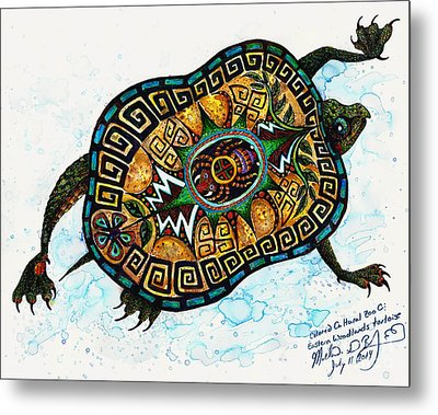 Colored Cultural Zoo C Eastern Woodlands Tortoise Metal Print