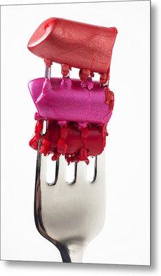 Colored Lipstick On Fork Metal Print