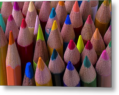 Colored Pencils Close Up Metal Print