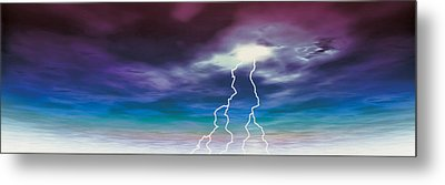 Colored Stormy Sky W Angry Lightning Metal Print