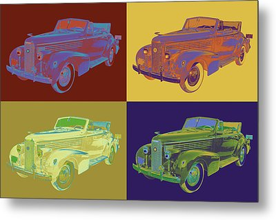 Colorful 1938 Cadillac Lasalle Pop Art Metal Print by Keith Webber Jr