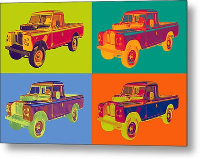 Colorful 1971 Land Rover Pick Up Truck Pop Art Metal Print by Keith Webber Jr