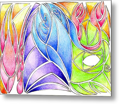Colorful Abstract Drawing Metal Print by Minding My  Visions by Adri and Ray