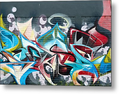 Colorful Abstract Graffiti Art On The Brick Wall Metal Print