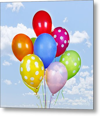Colorful Balloons With Blue Sky Metal Print by Elena Elisseeva