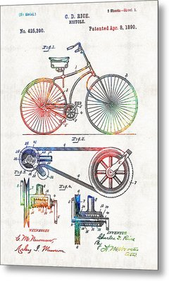 Colorful Bike Art - Vintage Patent - By Sharon Cummings Metal Print by Sharon Cummings