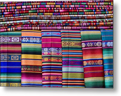 Colorful Blankets Santa Fe Metal Print by Carol Leigh