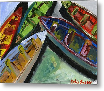 Colorful Boats Metal Print