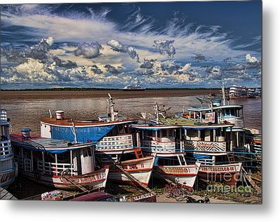 Colorful Boats On The Amazon River Metal Print by David Smith