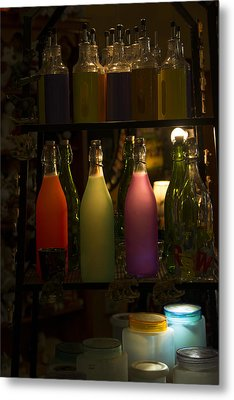 Colorful Bottle Display Metal Print