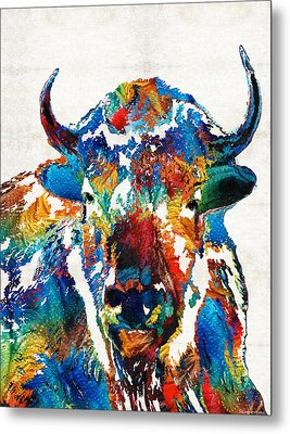 Colorful Buffalo Art - Sacred - By Sharon Cummings Metal Print by Sharon Cummings